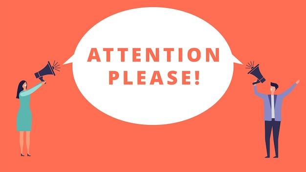 Atenção por favor. pessoas minúsculas seguram megafones e com mensagens importantes. conceito de atenção. anúncio de ilustração de atenção, mensagem importante