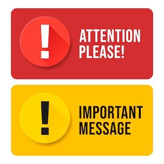 Atenção vermelha e amarela, por favor, bolha isolada no branco.