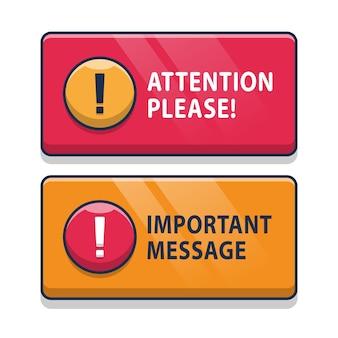 Atenção vermelha e amarela, por favor, bolha isolada