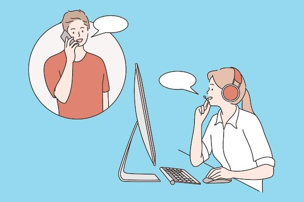 Atendimento ao cliente, atendimento ao cliente, conceito de operador de linha direta.