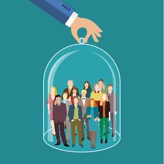 Atendimento ao cliente, atendimento aos funcionários, recursos humanos, seguros de vida, força de vendas e conceitos de segmentação de marketing.