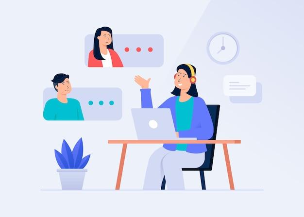 Atendimento ao cliente e conceito de ilustração de comunicação remota