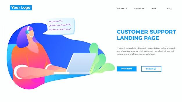 Atendimento ao cliente e suporte modelo de página de destino em estilo simples