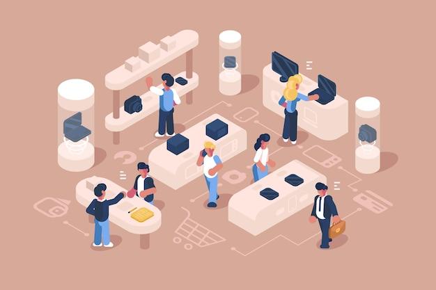 Atendimento ao cliente em ilustração de loja de eletrônicos