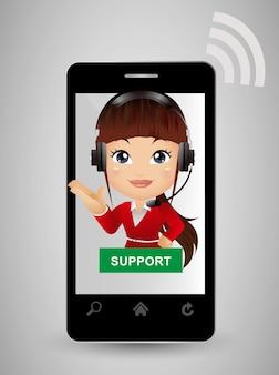 Atendimento ao cliente em smartphone