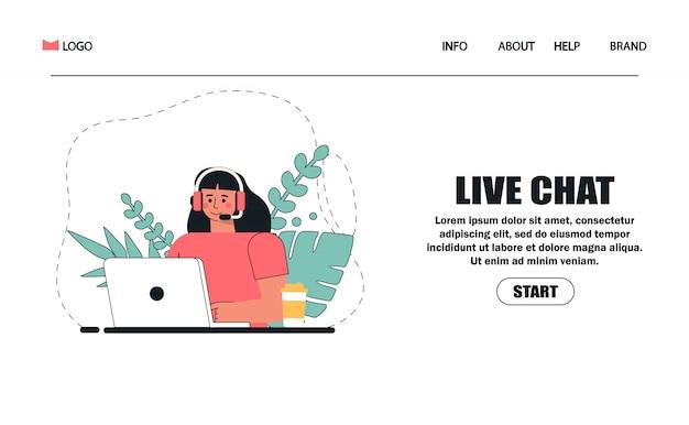 Atendimento ao cliente, mulher com cabelos longos, sentado à mesa com um laptop, com fones de ouvido e microfone, café e flores.