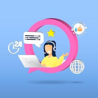 Atendimento ao cliente, mulher com fones de ouvido e microfone com laptop