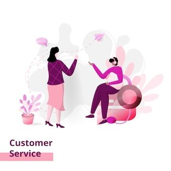 Atendimento ao cliente, o conceito de mulheres conversando com homens