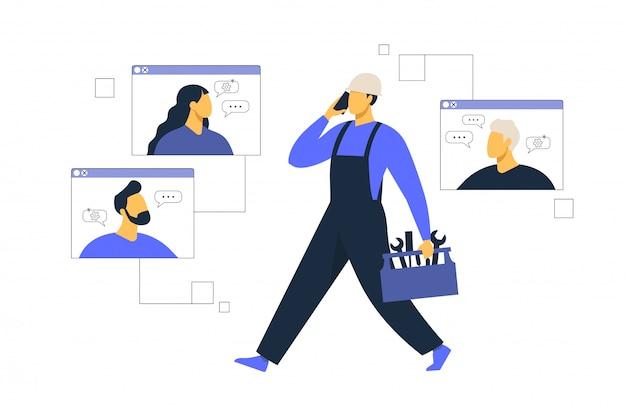 Atendimento ao cliente, o operador de linha direta masculino aconselha o cliente, suporte técnico global on-line, cliente e operador.