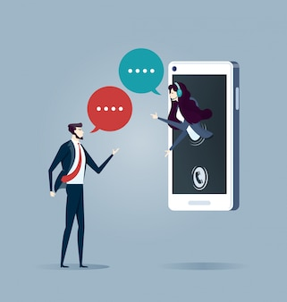 Atendimento ao cliente online. vetor de conceito de negócio