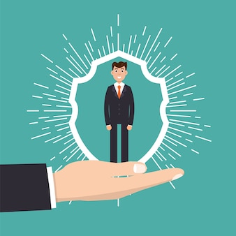 Atendimento ao cliente, retenção ou conceito de lealdade. empresário em uma mão mantém o cliente.