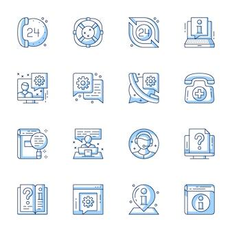 Atendimento ao cliente, suporte on-line conjunto de ícones do vetor linear.