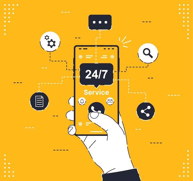 Atendimento ao cliente um homem com um telefone nas mãos liga para o serviço de atendimento ao cliente roundtheclock