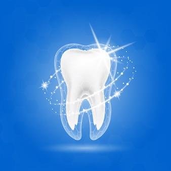 Atendimento odontológico conceito de dente e vitaminas que ajudam a fortalecer os dentes.