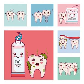 Atendimento odontológico conjunto de ícones