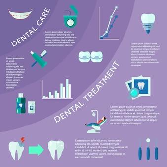 Atendimento odontológico e tratamento com acessórios, ferramentas e símbolos