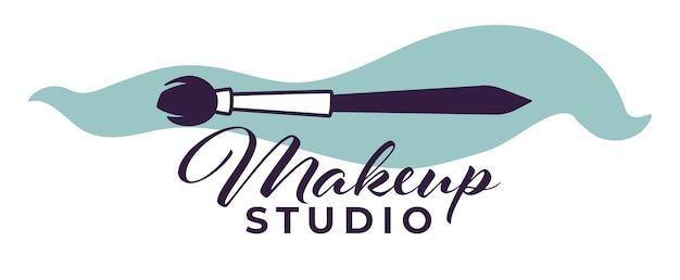 Atendimento profissional e tratamento de cosmetologista, estúdio de maquiagem ou salão de beleza para mulheres. rótulo ou emblema isolado com inscrição caligráfica e aplicador. pincele para pó. vetor em estilo simples