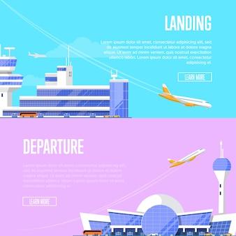 Aterragem de aeronaves e folhetos de partida do aeroporto