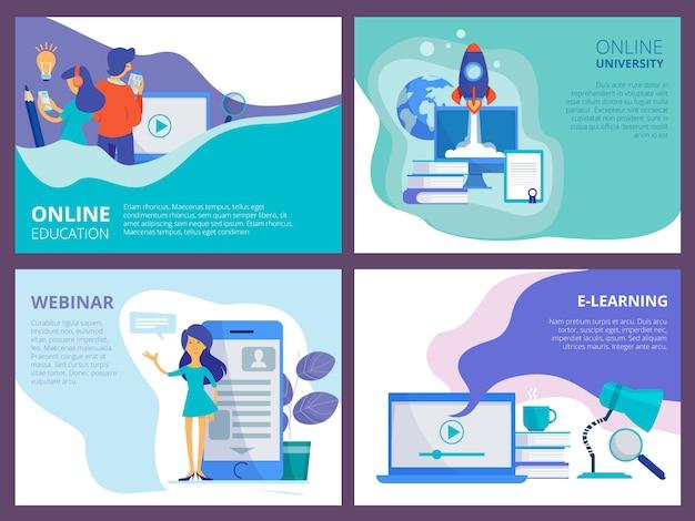 Aterragem de educação on-line. modelo de página promocional do site para cursos a distância ou treinamentos e tutoriais layout da interface do usuário