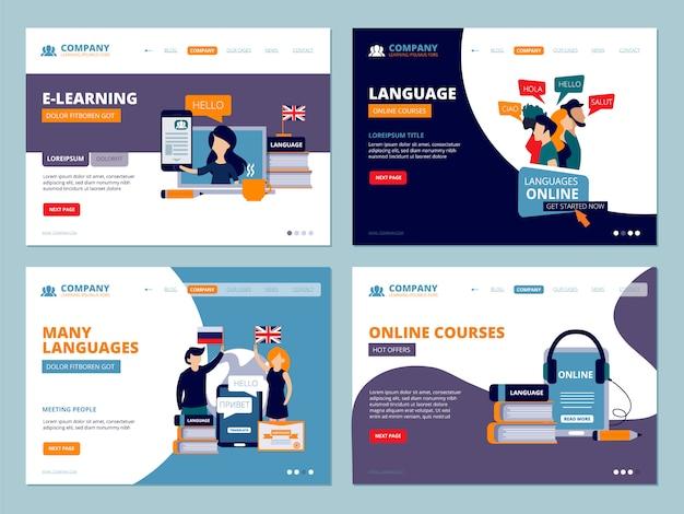 Aterragem de educação. web treinamentos cursos de idiomas tutoriais wireframe modelo de interface do usuário caracteres simples páginas de destino
