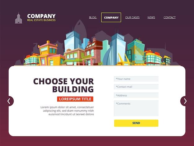 Aterragem de empréstimo hipotecário. layout da web de aterrissagem de edifícios da página da internet da imobiliária