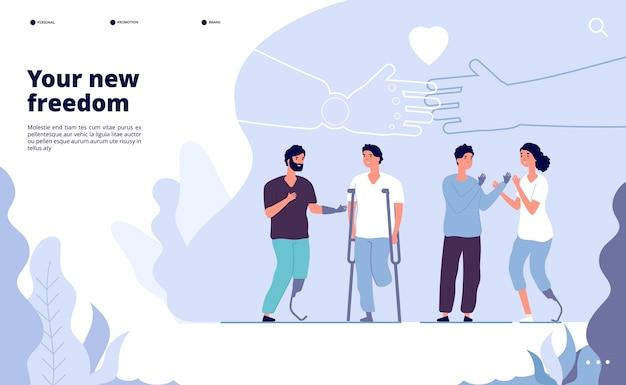 Aterragem de pessoas com deficiência. dia internacional das pessoas com deficiência. prótese oferece sua nova oportunidade. ilustração em vetor design dia mundial internacional pessoas com deficiência