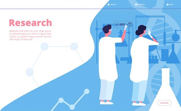 Aterragem do laboratório de pesquisa. químico de pesquisador fazendo teste clínico em laboratório químico. conceito científico farmacêutico