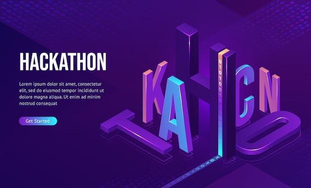 Aterragem isométrica de hackathon, desenvolvimento de software