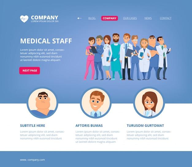 Aterragem médica. médicos da equipe do hospital enfermeira modelo de design de layout de página da web de trabalhadores de bioquímica farmacêutica