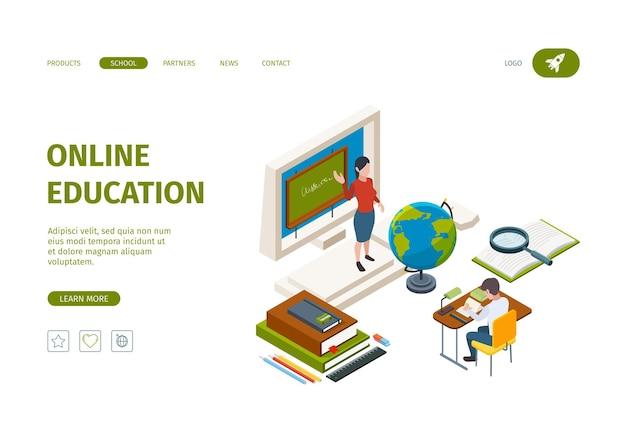 Aterrissagem de educação online. conhecimento processos de aprendizagem processos de treinamento cursos a distância modelo de página da web isométrica do vetor do aluno. treinamento de educação online, ilustração online de estudo universitário