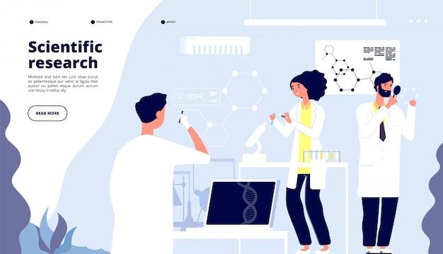 Aterrissagem de pesquisa científica. cientistas em laboratório de drogas farmacêuticas, pesquisadores em laboratório com nanoelementos. página de vetor médico