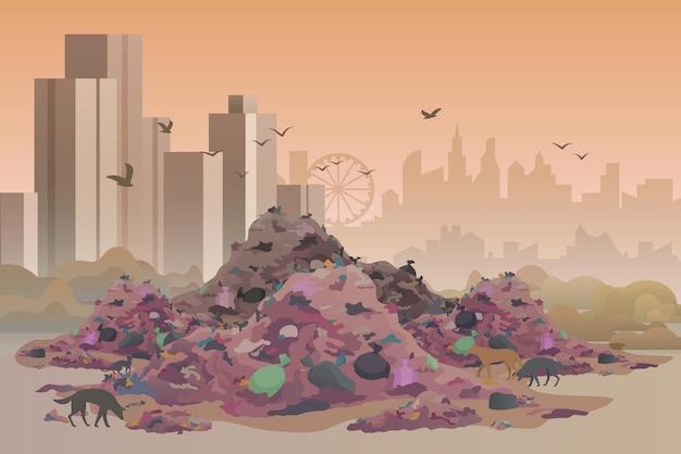 Aterro sanitário da cidade, ilustração do conceito de poluição ambiental de área poluída