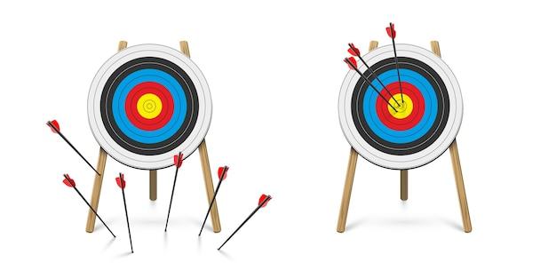 Atingir e errar o alvo com o conjunto de flechas de tiro com arco.