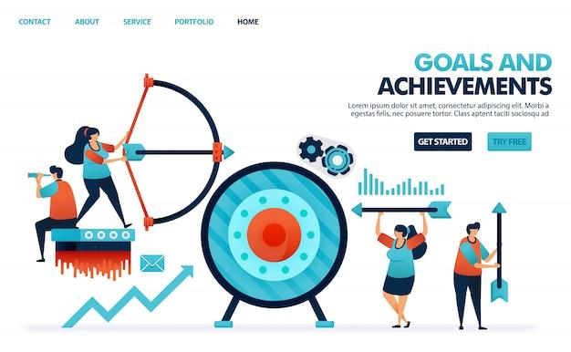Atingir objetivos e realizações resultam em negócios, alvo de lucro nos negócios da empresa, tiro com arco com flechas.