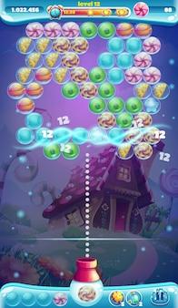 Atirador de bolhas de janela de jogo com gui móvel sweet world