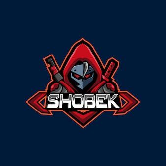 Atirador de capuz vermelho e mascote de jogo de logotipo de esportes