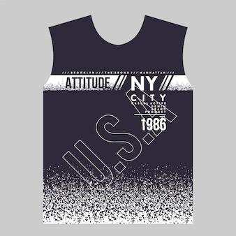 Atitude ny city t shirt print abtract design gráfico tipografia ilustração vetorial