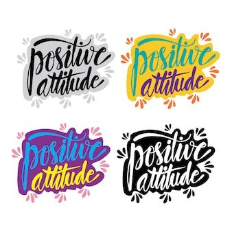 Atitude positiva, cartaz de tipografia desenhada mão
