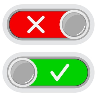 Ativado desativado alterna o conjunto de ícones de botões deslizantes isolado no fundo branco.