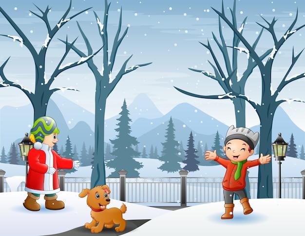 Atividade ao ar livre com as crianças na ilustração de inverno