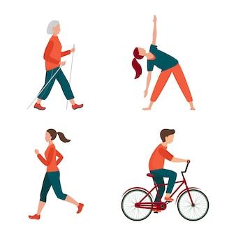 Atividade ao ar livre. conjunto de pessoas diferentes isolado no branco. macho e fêmea têm atividades ao ar livre. corrida, andar de bicicleta, caminhada nórdica, ioga ao ar livre. recreação, ilustração vetorial de esporte.