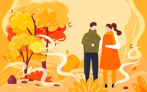Atividade ao ar livre dos amantes do outono ilustração viagem e cartaz de passeio no outono