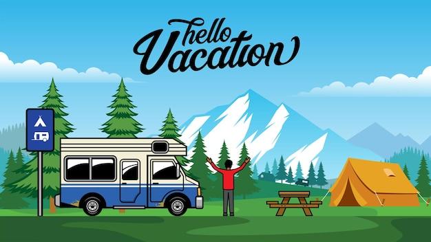 Atividade ao ar livre para acampamento de caminhões de trailer