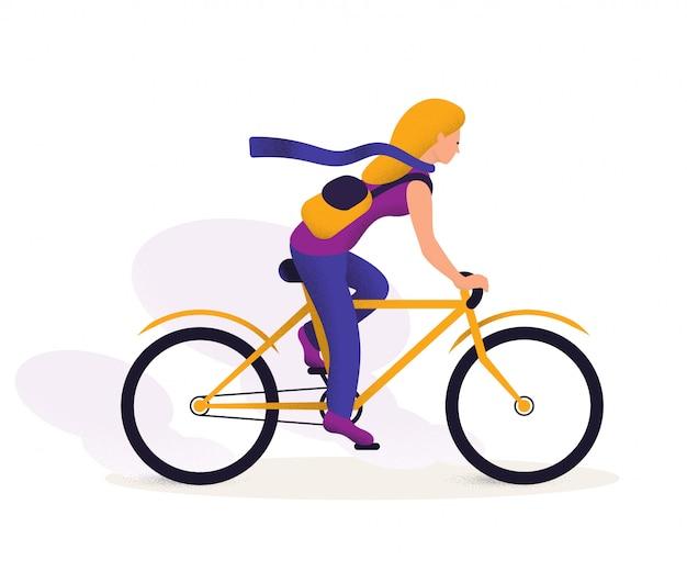 Atividade ao ar livre, personagem de desenho animado feminino viajando de bicicleta. imagem de transporte ecológico.