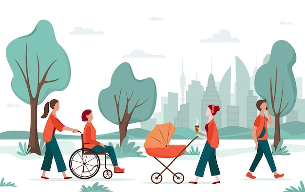 Atividade ao ar livre. pessoas caminhando no parque da cidade. mãe com carrinho de bebê, mulher em cadeira de rodas com acompanhante, jovem. conceito de recreação urbana, conceito de diversidade