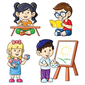 Atividade crianças leitura escrita contando pintura