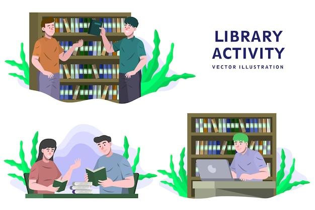 Atividade da biblioteca - ilustração do vetor de atividade