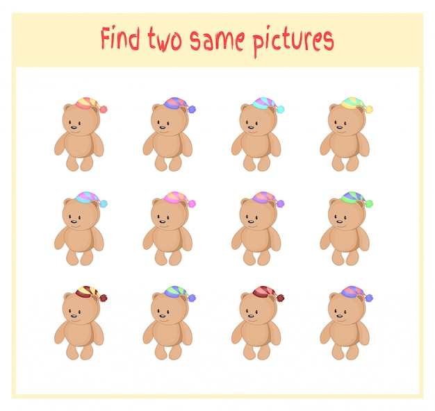 Atividade de achar dois ursos de pelúcia mesmos para crianças