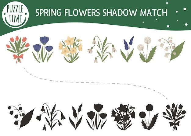 Atividade de combinação de sombras para crianças com flores da primavera