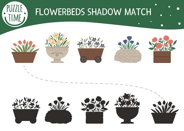 Atividade de combinação de sombras para crianças com flores de jardim em canteiros